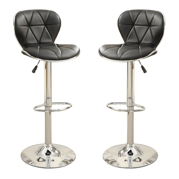 Bobkona Riggan Adjustable Height Bar Stool (Set of 2) by Poundex