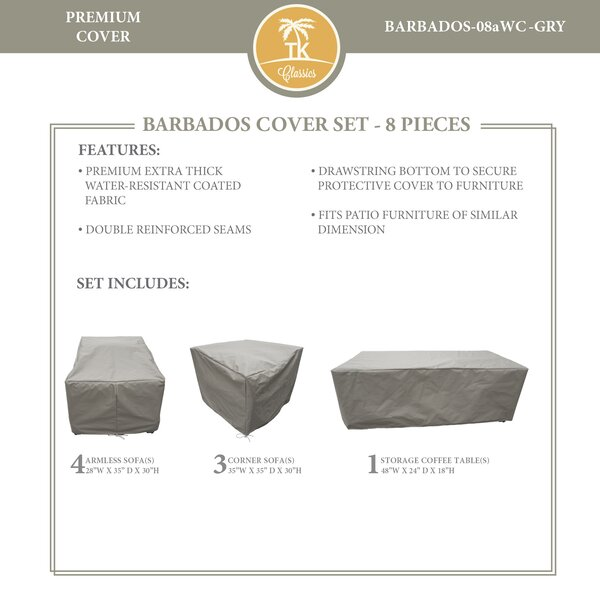 Barbados 8 Piece Water Resistant Patio Sofa Cover Set (Set of 8) by TK Classics