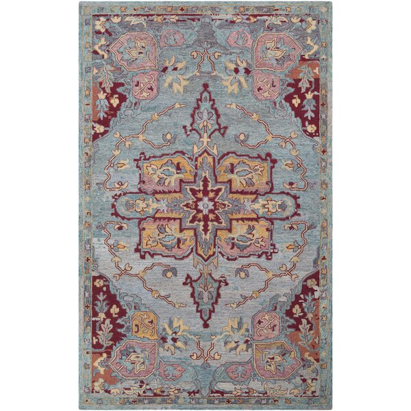 Kendall Green Floral Hand Hooked Wool Emerald/Cream Area Rug by Bungalow Rose