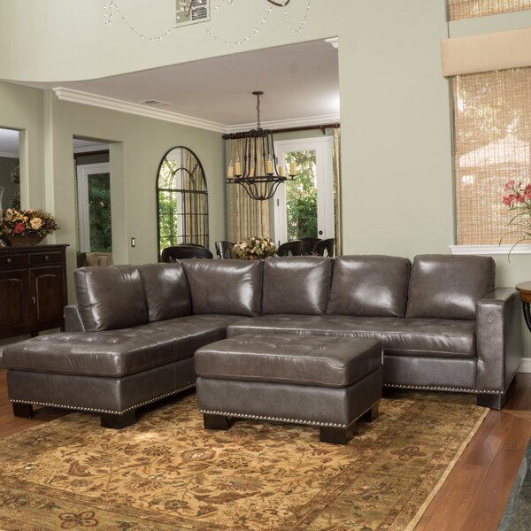 Coleford Leather Sectional by Canora Grey