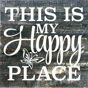'This is My Happy Place' Textual Art on Dark Wood by Artistic Reflections