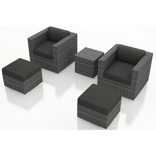 Hobbs 5 Piece Conversation Seating Group with Sunbrella Cushions by Rosecliff Heights
