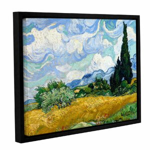 Wheatfield with Cypresses by Vincent Van Gogh Framed Painting Print on Wrapped Canvas by ArtWall