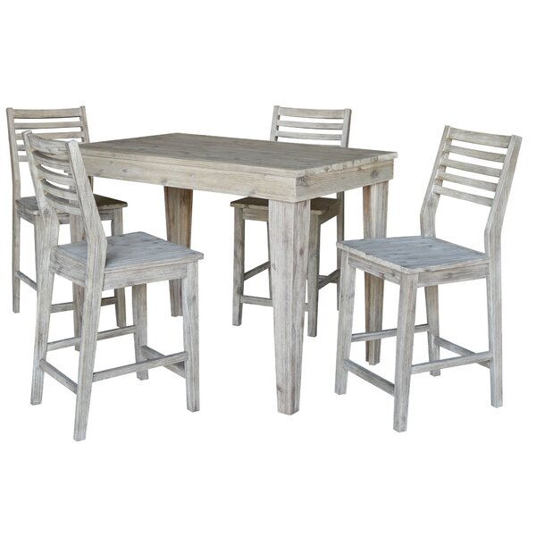 Gallaher Solid Wood Counter Height 5 Piece Pub Table Set by Gracie Oaks