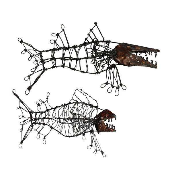 Wire Fish Sculpture Wall Décor by Ibolili