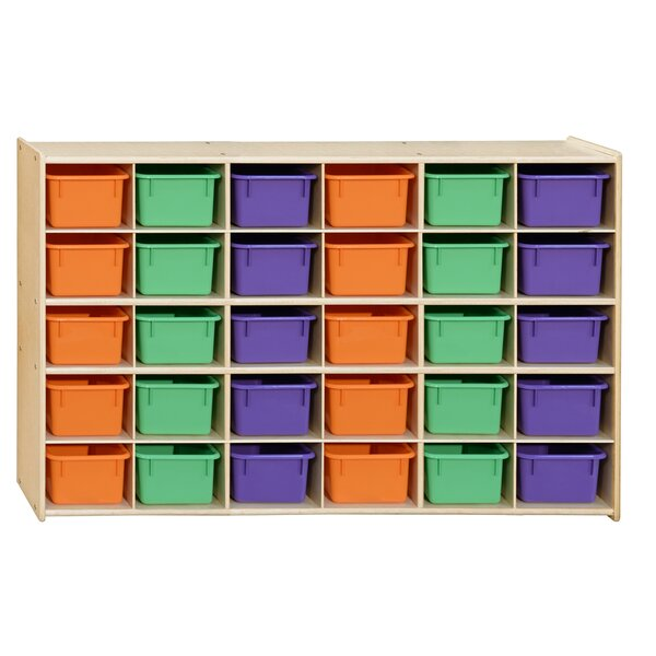 30 Compartment Cubby with Trays by Wood Designs