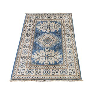 One-of-a-Kind Bone Vintage Kazak Oriental Hand-Knotted 2' x 3' Wool Blue Area Rug by Canora Grey