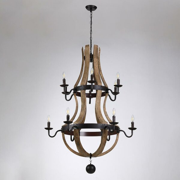 Caudillo 12 - Light Candle Style Empire Chandelier By Rosalind Wheeler