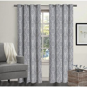 Mccarthy Ikat Semi-Sheer Grommet Curtain Panel (Set of 2)