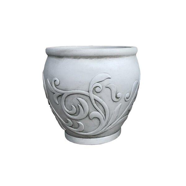 Burntwood Fancy Scroll Pot Planter by Fleur De Lis Living