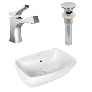 Compare & Buy Ceramic Rectangular Vessel Bathroom Sink with Faucet and Overflow ByAmerican Imaginations