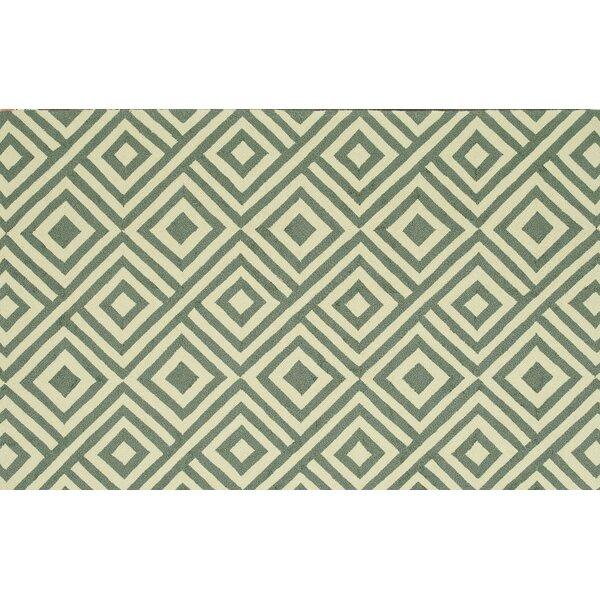 Danko Hand-Hooked Slate/Ivory Indoor/Outdoor Area Rug by Wrought Studio