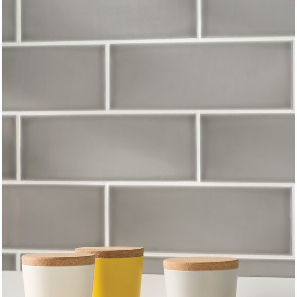 Leila 4 x 12 Ceramic Subway Tile in Grey by Grayson Martin
