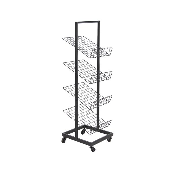 Vangeel Industrial 3-Tier Magazine Rack with Wheels by Rebrilliant