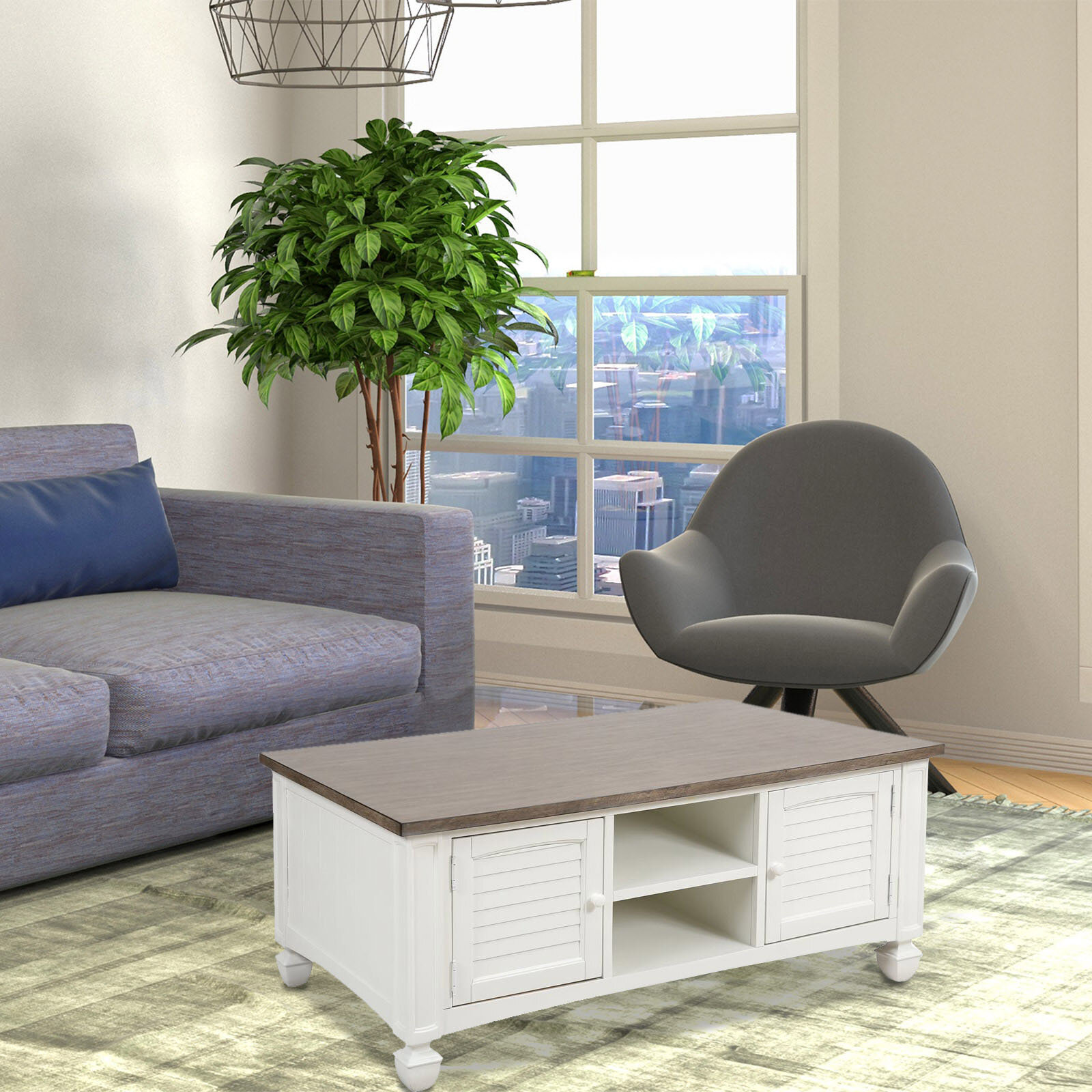 Manzanares 2 Door Coffee Table In White With Baskets