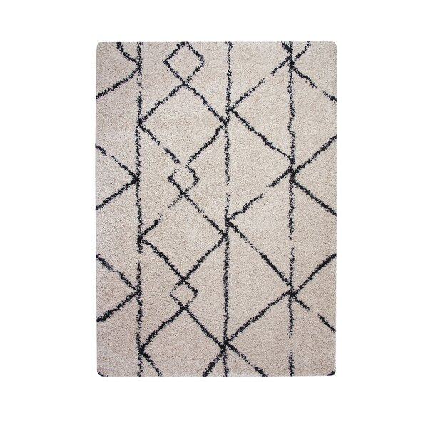 Alday Thick and Plush Cream/Black Indoor/Outdoor Area Rug by Foundry Select