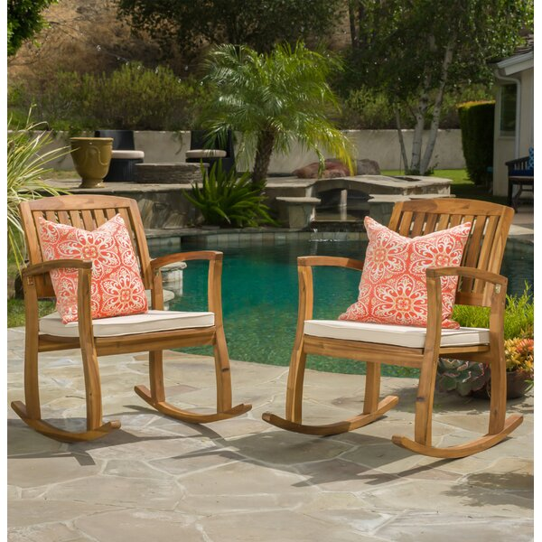 Coyne Acacia Rocking Chair With Cushion (Set Of 2) By Beachcrest Home