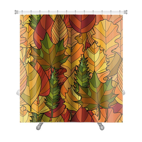 Leaves Abstract Doodle Autumn Leaves Premium Shower Curtain by Gear New