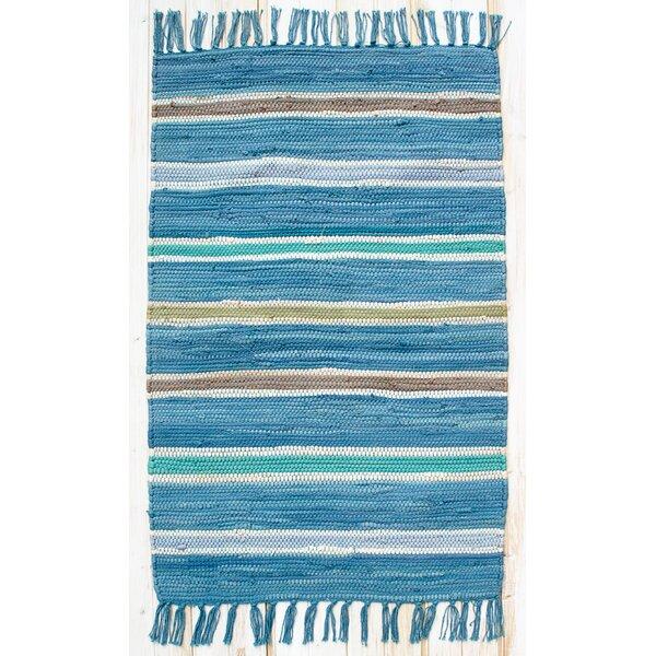 Cottage Bermuda Blue Stripe Rug by CLM