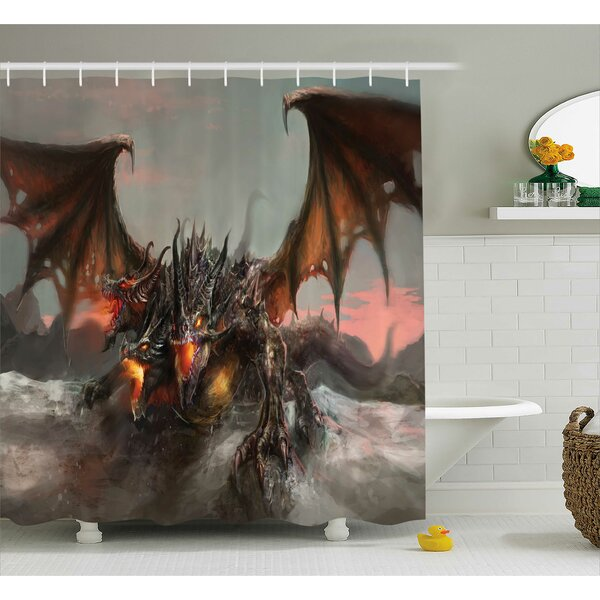 Todd Illustration of Three Headed Fire Breathing Dragon Large Monster Theme Shower Curtain by Winston Porter
