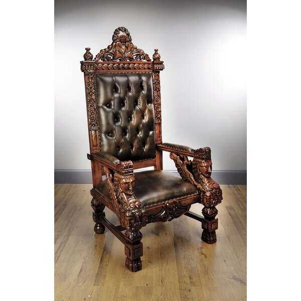 Marybeth Mahogany Throne Armchair by Astoria Grand