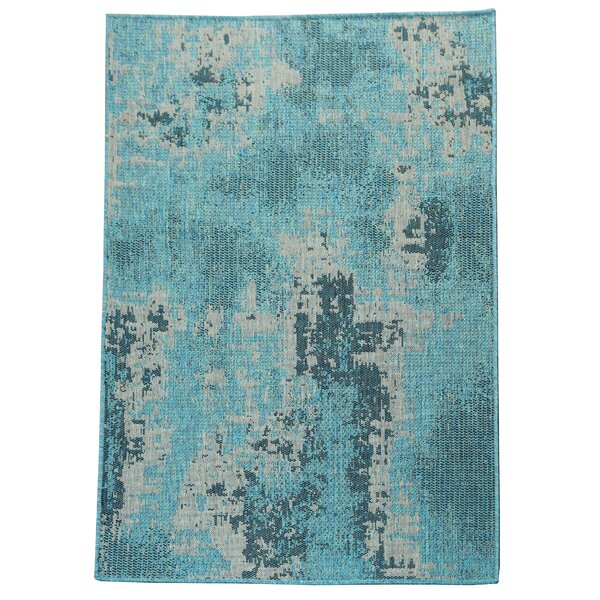 Rushford Abstract Flatweave Blue/Beige Area Rug