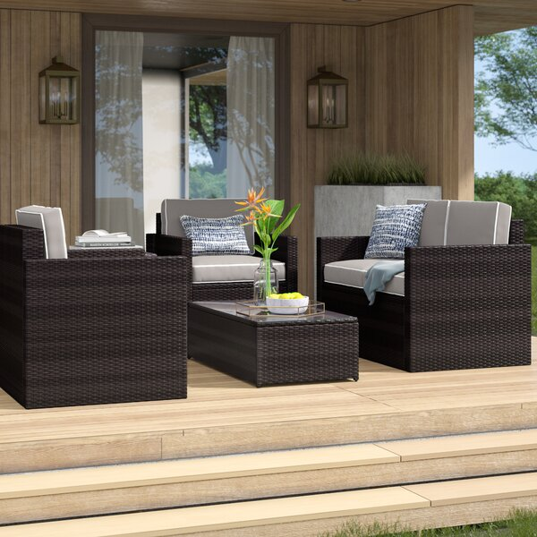 Belton 5 Piece Rattan Sofa Seating Group with Cushions by Mercury Row