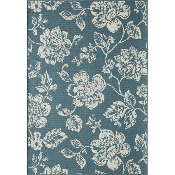 Kofi Blue/Ivory Indoor/Outdoor Area Rug by Ophelia & Co.