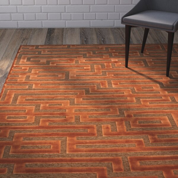 Teague Rust/Medium Brown Maze Area Rug by Brayden Studio