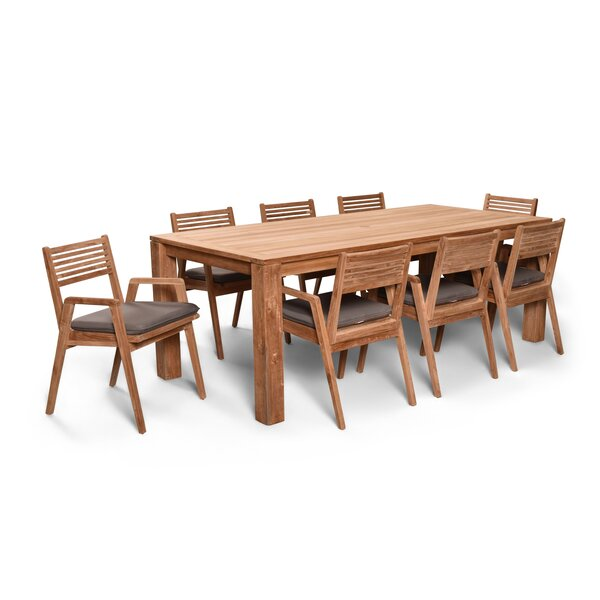 Link 9 Piece Teak Dining Set with Sunbrella Cushions by Harmonia Living