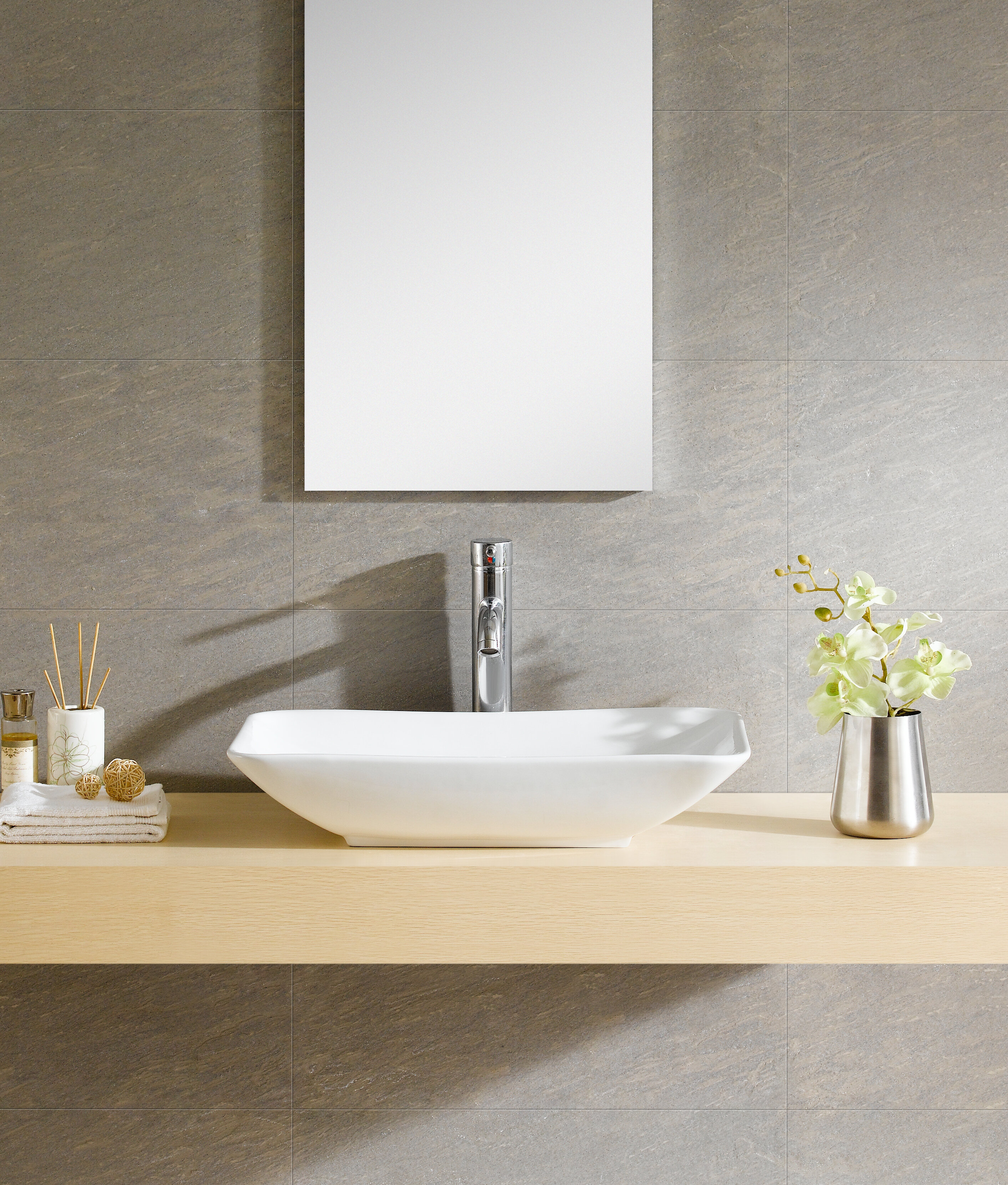 Fine Fixtures Modern Ceramic Rectangular Vessel Bathroom Sink ...