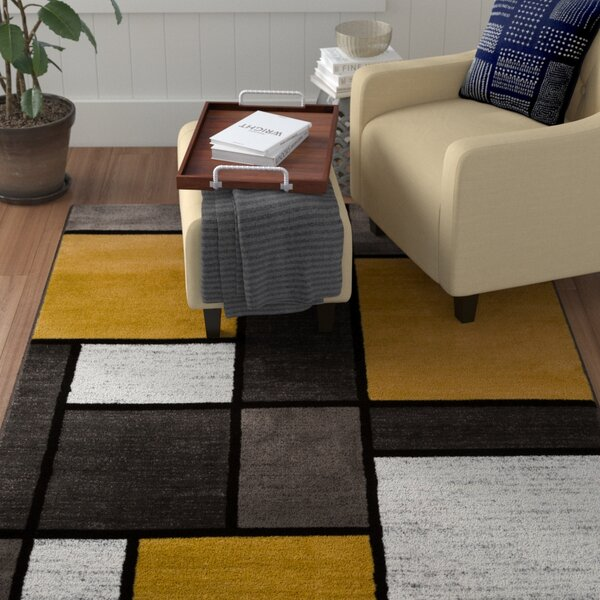 Persons Contemporary Modern Boxes Lime Yellow Area Rug by Wade Logan