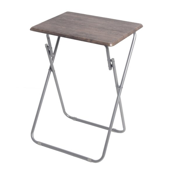 Ibarra Metallic Veneer Folding Snack Tray Table by Rebrilliant