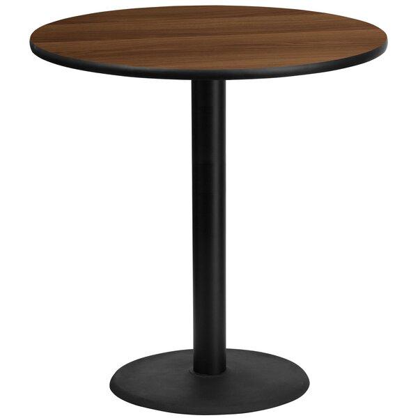 Pereyra 42'' Round Walnut Laminate Pub Table by Symple Stuff