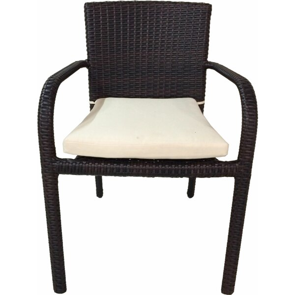 Gengler River Stacking Patio Dining Chair with Cushion (Set of 2) by Wrought Studio