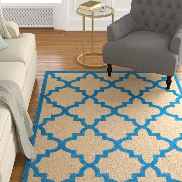 Winchcombe Sand/Blue Outdoor Area Rug by Charlton Home