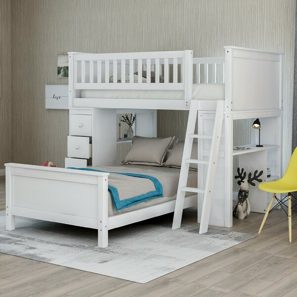 Twin over Twin Bed with Drawers and shelves by Harriet Bee