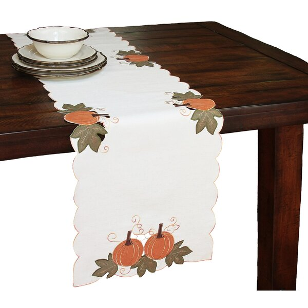 Pumpkin Patch Embroidered Cutwork Linens Table Runner by Xia Home Fashions