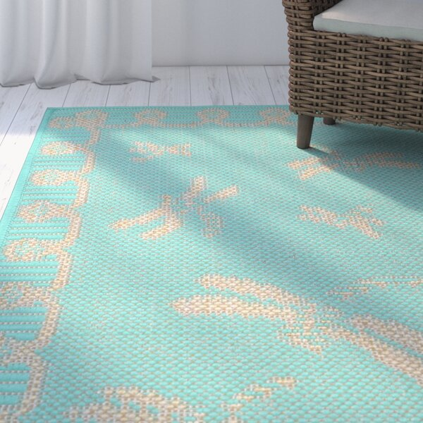Clatterbuck Dragonfly Blue/Beige Indoor/Outdoor Area Rug by Highland Dunes