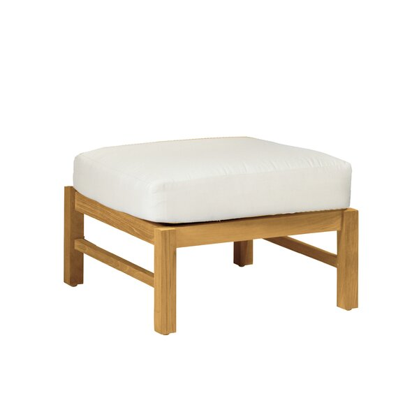 Club Outdoor Teak Ottoman with Cushion by Summer Classics