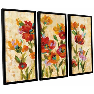 'July in the Garden I' 3 Piece Wood Framed Painting Print Set by Andover Mills