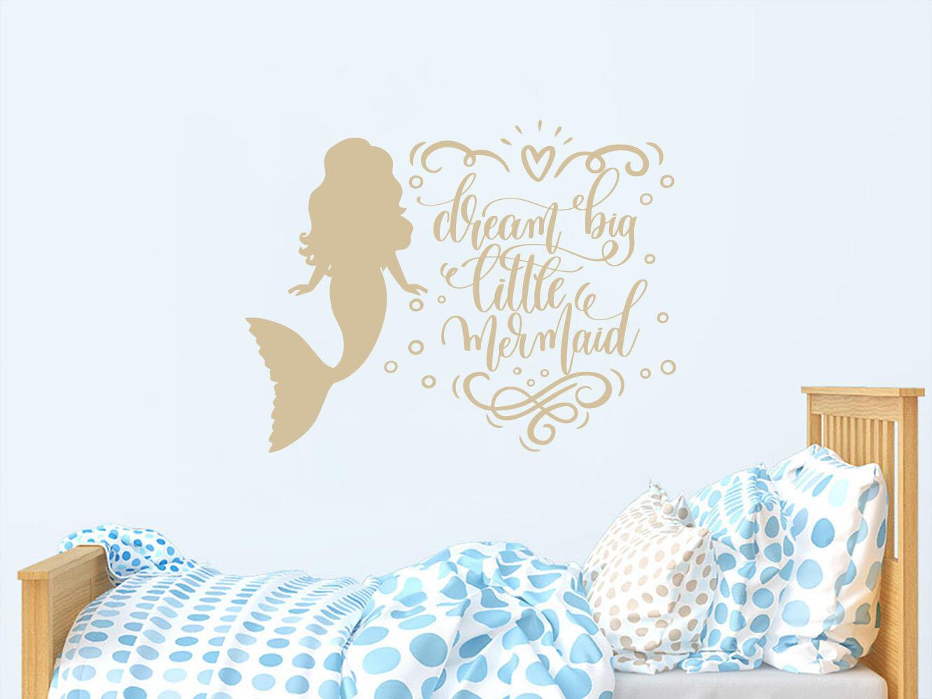 Dream Big Little Mermaid Quote Nursery Wall Decal
