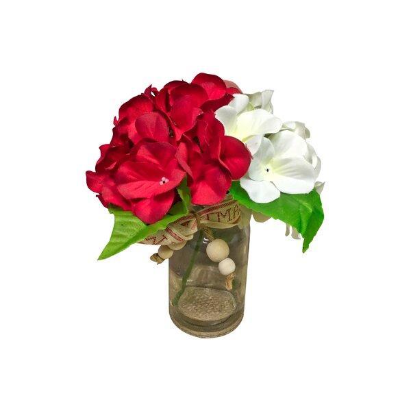 Hydrangeas Floral Arrangement in Glass Vase by August Grove