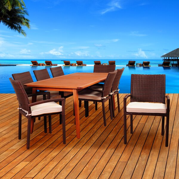 Arango 9 Piece Dining Set with Cushions by Beachcrest Home