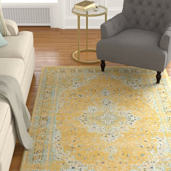 Marine Yellow Area Rug by Alcott Hill