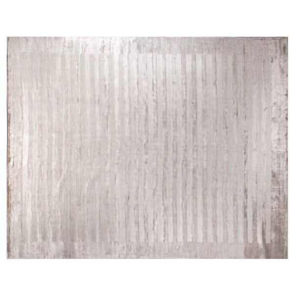 Panel Stripes Hand Woven Silk Silver Area Rug by Exquisite Rugs