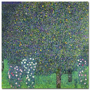 Roses Under the Trees, 1905 by Gustav Klimt Painting Print on Wrapped Canvas by Trademark Fine Art