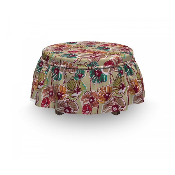 Earth Tones Poppies 2 Piece Box Cushion Ottoman Slipcover Set By East Urban Home