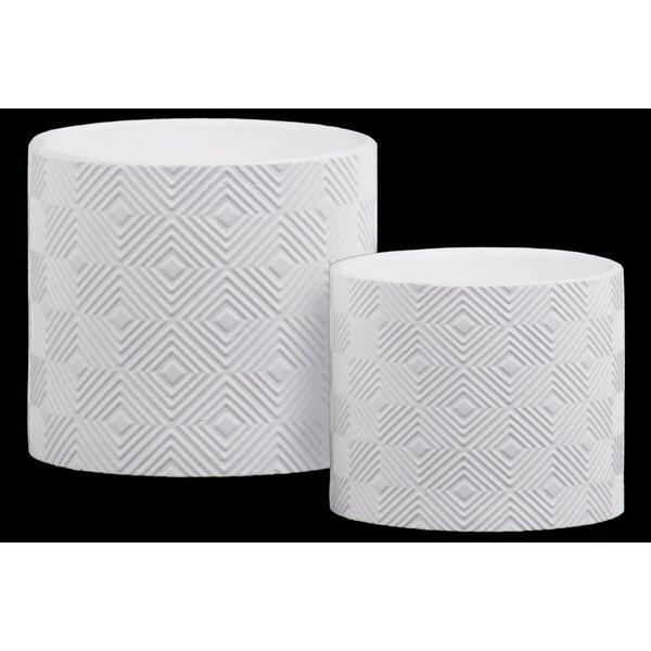Epstein Embossed Lattice Concentric Diamond 2-Piece Stone Pot Planter Set by Wrought Studio