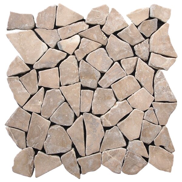 Fit Random Sized Natural Stone Pebble Tile in Tan by Pebble Tile